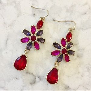 New Red Rhinestone Earrings
